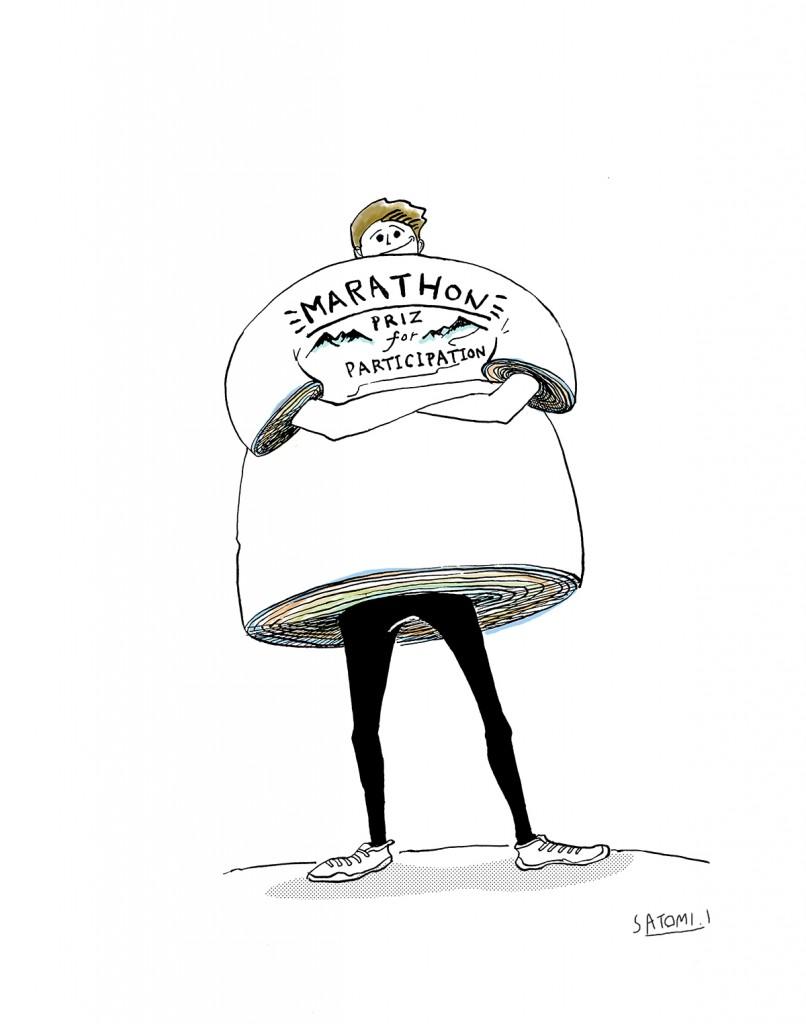 「【ランナーあるある】参加賞の「記念Tシャツ」が山積みになっている」の画像